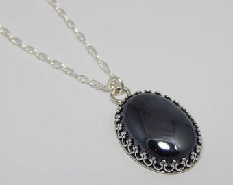 Hematite Necklace in Oxidized Setting. Hematite Pendant. Hematite Cabochon. Gift for Her.