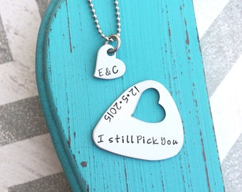 Hand Stamped Guitar Pick and Necklace - Anniversary Gift - Custom Guitar Pick - Custom Heart Necklace - Love - His and Her Gift -Couple Gift