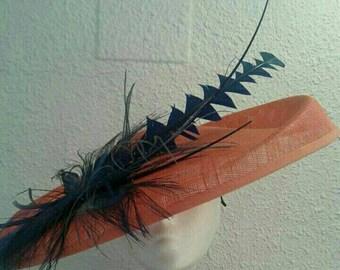 Orange Sinamay Pamela with Feathers, Sinamay Hat, Feathers Hat, Orange Hat, Races Hat, Ascot Hat, Derby Hat, Events Hat