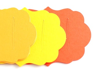 Hair clip cards, Barette cards, Bobby pin cards, Barrette display cards blanks orange and yellow cardstock paper