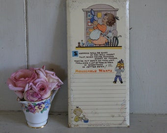 Vintage Kitchen Sign - Household Wants - Mabel Lucie Attwell
