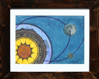 """Earth and Sky :11""""X14"""" Ink & Watercolor Drawing"""