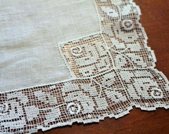 Antique Filet Lace Handkerchief Wedding White Heirloom Lace Hankie