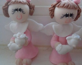 Handmade Doll Baby Pink Carrying a little lamb 2.5""