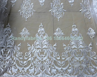 New fashion Off White/ivory wedding dress lace fabric  mesh lace fabric 51 inches width by the yard