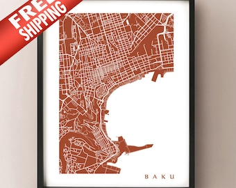 Baku, Azerbaijan Map Print