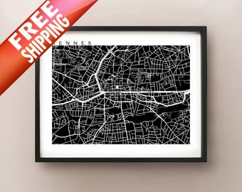 Rennes Map Print - France Art Poster