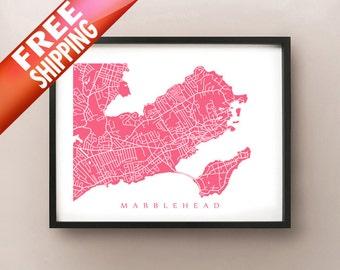 Marblehead Map Print - Massachusetts Art Poster