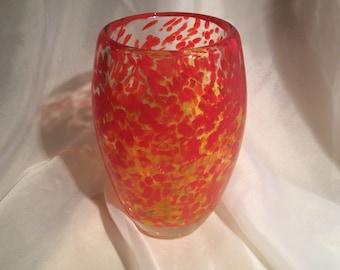 Vivid Blown Glass Vase.  Hand Blown Art Glass Vase in Art in Gorgeous Yellows, Oranges.  Glass Vase.