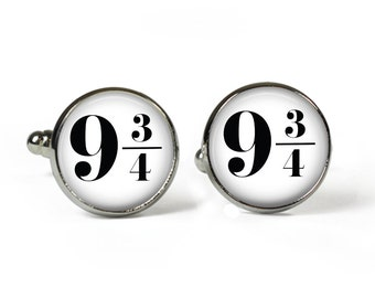 9 3/4 - Glass Picture Cufflinks - Silver Plated