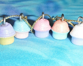Set of Four - Cup Cake Pastel Hand-Painted - Free Shipping - Mini Christmas Ornaments