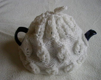 hand knitted tea cosy / white