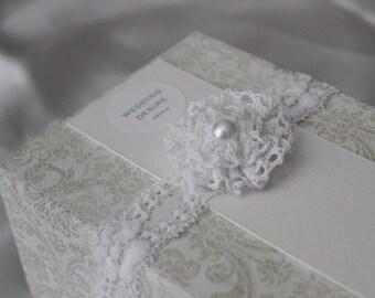 Pearl Bridal Garter | WHITE Stretch Lace | Vintage Inspired Flower Garter