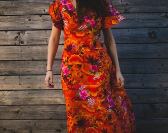 Vintage Orange Hawaiian Sunset Dress with Palm Trees and Hibiscus Flowers / Tropical Inspired / Honolulu Lava Volcano Tiki Party Dress