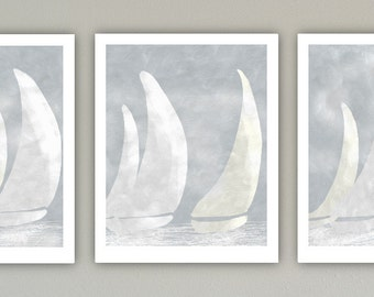 Sailboat Art Print Set, Large Print, Minimalist Art, Geometric Art, Contemporary Art, Nautical Decor, Triptych print set