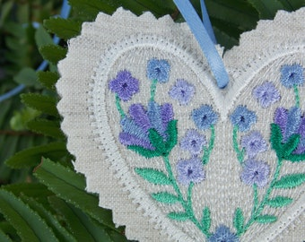 Christmas ~ Valentine ~ Wreath ~ Easter ~ Birthday Linen Heart Ornament ~ Decoration Machine Embroidered in Lavender Cream & Green