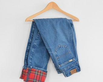 L.L. Bean Flannel Lined Vintage Jeans High Waisted Long Size 12 Womens Jeans Made in Maine USA 1980's Cabin Wear Camping Hiking