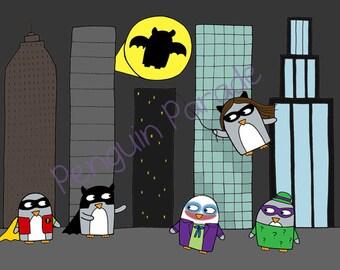 Superhero Print - Penguin Gift - Funny Penguin Print - Batpenguin- Gotham City-Christmas Gift -A4 size