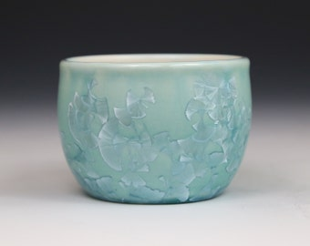 Crystalline 9 oz Cup Turquoise Blue Teal with White Teacup #0088