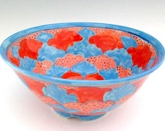 Ceramic Bowl with Geometric Design in Blue and Orange