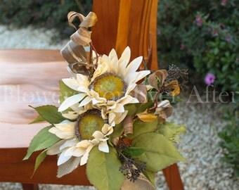 Cream Sunflower Rustic Chair Decoration, Table Centerpiece, Aisle hanger, Pew Decoration, Autumn/Fall Centerpiece