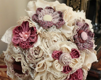 Elizabeth, Unique Dusty Pink & Cream Fabric Flower Wedding Bouquet