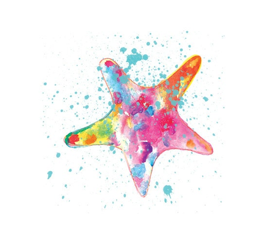 Starfish Watercolor PrintColorful Watercolor Painting