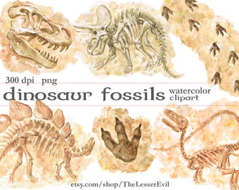 Dinosaur Fossils Clipart, Digital Watercolor Illustration, Dinosaur Clip Art, Hand Drawn Dino Bones, Stock Illustration, Commercial use