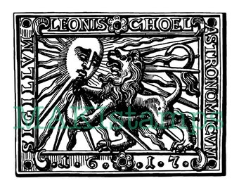 Astronomy stamp baroque / sun and lion rubber stamp - unmounted rubber stamp or cling stamp (160701)