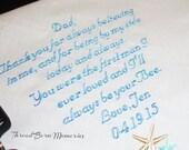 Father of the Bride Handkerchief Keepsake Favor, Thank You For Always Believing In Me, Wedding Day Keepsake - Thread Born Memories