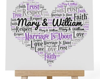 Personalised Love Word Art Wooden Plaque & Wooden Easel Stand - Marriage is about Trust