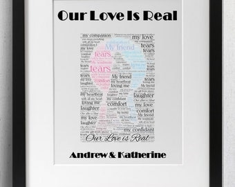 Personalised Love Framed Word Art - One Wish