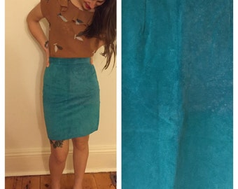 Vintage // 100% Suede Aqua blue high waisted skirt // pencil skirt // winter spring // sz 6au //