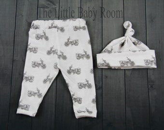 Boys Coming Home Outfit Set, Baby Hospital Outfit, Leggings Hat,Motorcycle Leggings,Boys Coming Home,White and Black Motorcycle,Boys Newborn