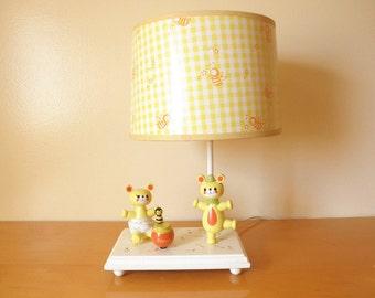 "Vintage 70's Musical Bear Lamp- Judi's Originals-Working! Built in Music box plays ""Rock-a-bye-baby""-Darling for Children's/Nursery Room"