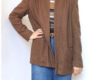Vintage VALENTINO Brown Wool and Cashmere Chevron Print Jacket with Shoulder Pads / Blazer /