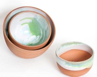 Green Nesting Serving Bowl Set - Ready to ship