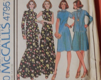 McCall's 4795 Vintage easy to sew dress and jacket pattern Size 12