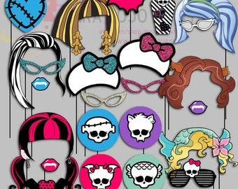 Monster High Party Photo Booth Props, Monster girls Party Photo Props