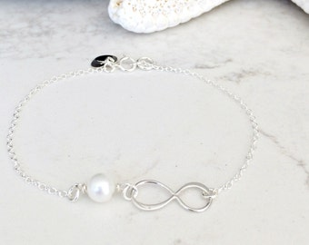 Personalized Infinity Bracelet with heart pearl 925 Sterling silver heart bracelet initial jewelry monogram letters monogram jewelry gift
