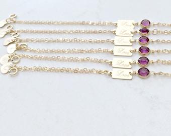 Personalized Birthstone Bracelets monogram bracelets love bracelet heart initial swarovski birthstone beach wedding birthstone bracelet Feb