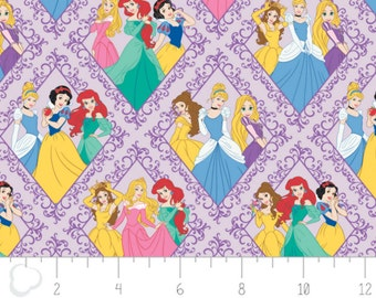 Per Yard, Disney Princess Character Diamonds in Purple Fabric From Camelot