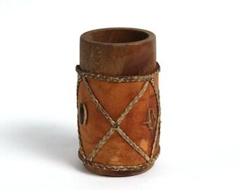 Vintage wooden/leather handmade pencil cup, Vintage workshop organizer, Office decor, Vintage handmade leather dice cup,