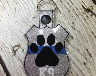 K9 Paw Print - Blue - POLICE - Law Enforcement - In The Hoop - Snap/Rivet Key Fob - DIGITAL Embroidery Design