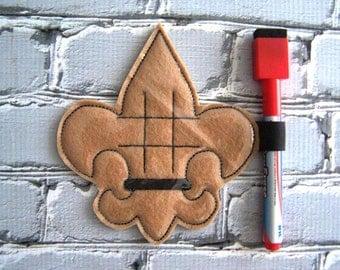 Fleur De Lis - Scouting - In the hoop -  Tic Tac Toe Board Game -DIGITAL EMBROIDERY DESIGN