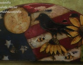 Patriotic Primitive, EPATTERN, Tole Painting Pattern, Sunflowers, Crow,Moon, Flag, DIY, Acrylic, Prim, Grungy,Quick,Easy, Country Decor, Fun