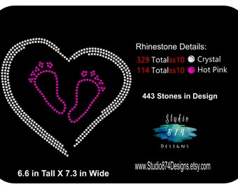 Rhinestone Transfer Template Pattern Stencil - Baby Footprints - Maternity  - DIY applique shirt t-shirt - Sticky Flock Template