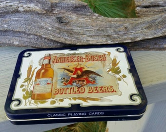 Anheuser Busch Playing Card Tin & Unopened Cards