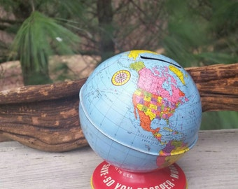 Vintage Ohio Art 1940s Tin Lithograph World Bank Globe
