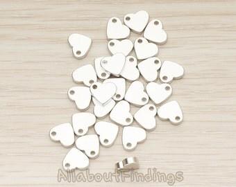 BDS052-MR // Matte Original Rhodium Plated Flattened 7mm Heart Metal Bead Charm, 6 Pc